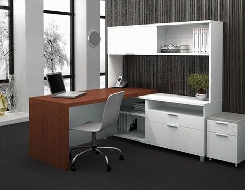 modern two tone shaped desk integrated hutch credenza l for sale with drawers reception
