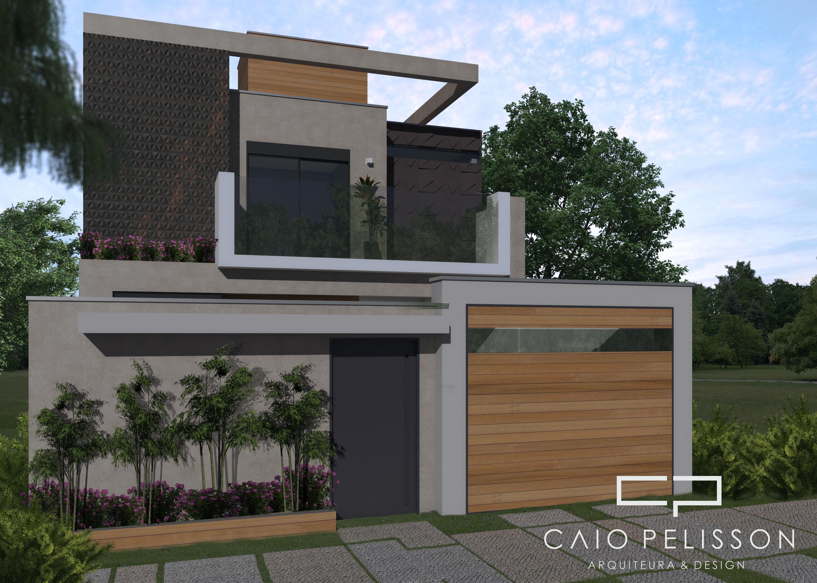 Fachada de casa sobrado moderna terreno 8x25 contempor nea for Casa moderna 60 metros