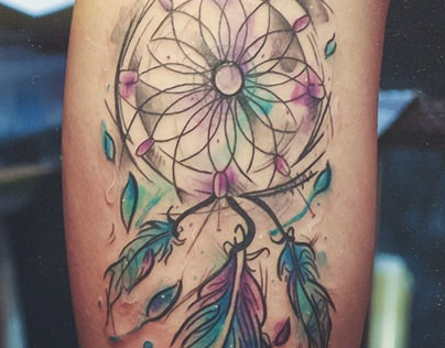 Dreamcatcher watercolor tattoo by d ner silva tattoo for Watercolor dreamcatcher tattoo