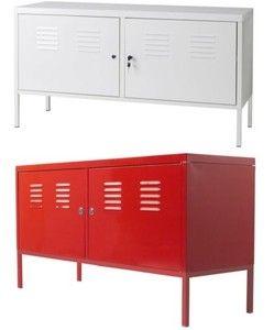 Ikea PS Cabinet Locker Storage Steel Modern Industrial TV Stand White Red  New
