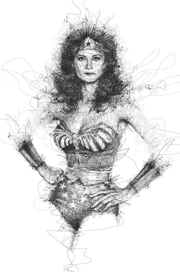 Incredible scribbled pencil drawings of musicians super heroes by vince low