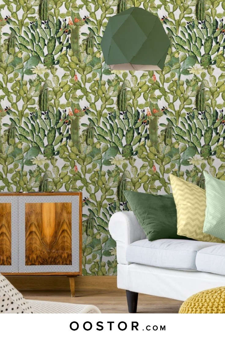 A Light And Airy Wallpaper Brimming With Prickly Pear And Saguaro Cacti Wallpaper Inspirational Wallpapers Feature Wall