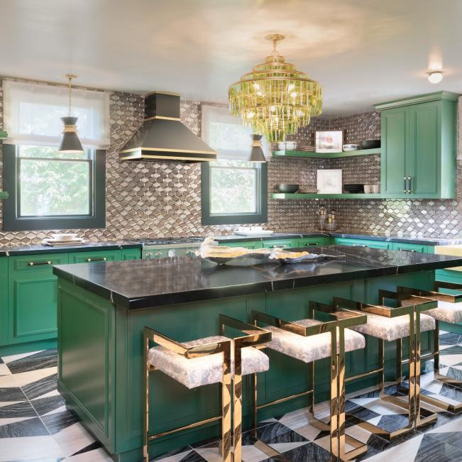Green Art Deco Kitchen With Black Countertops HGTV in