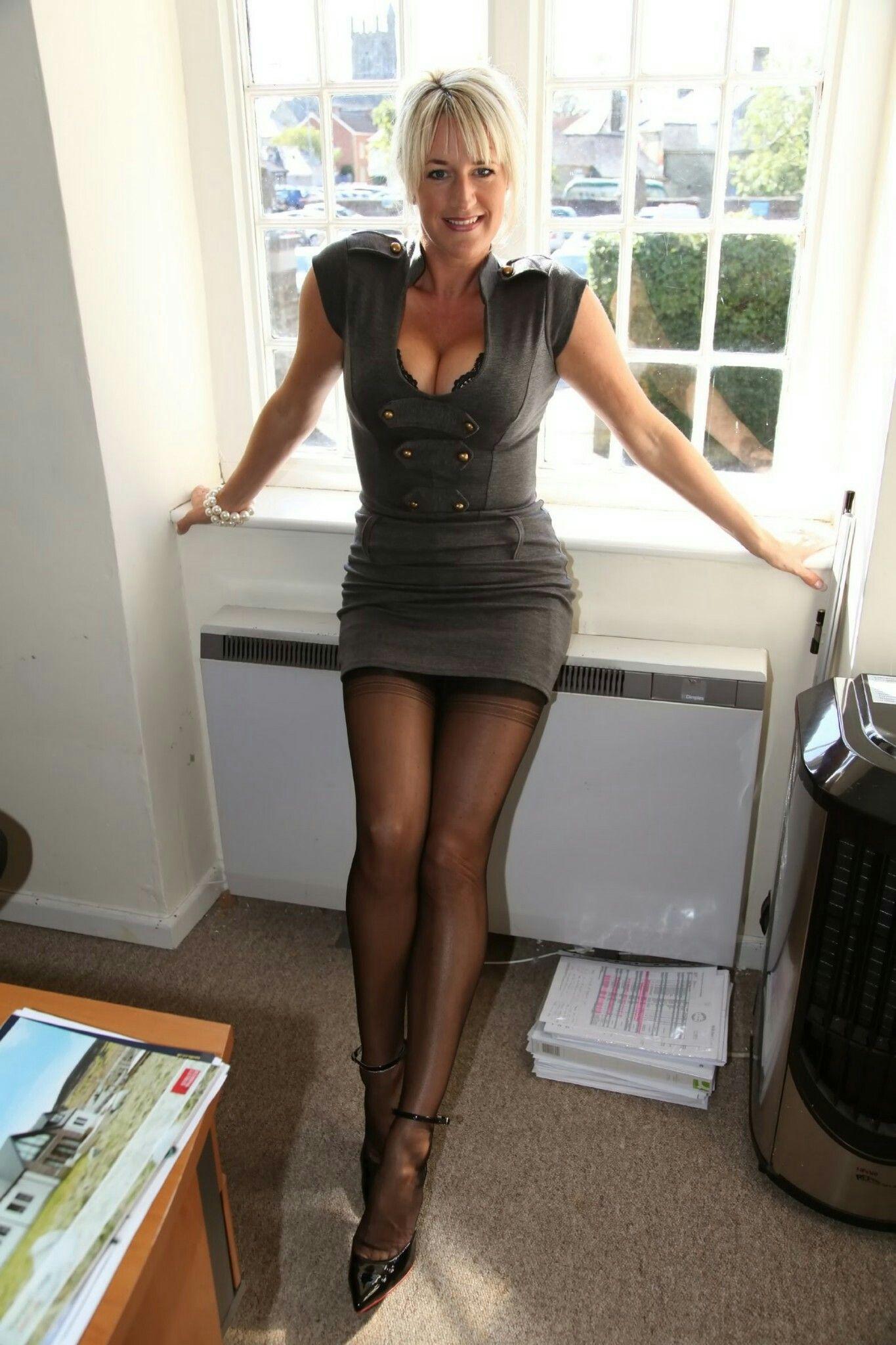 Sexy mature women in little black dress something