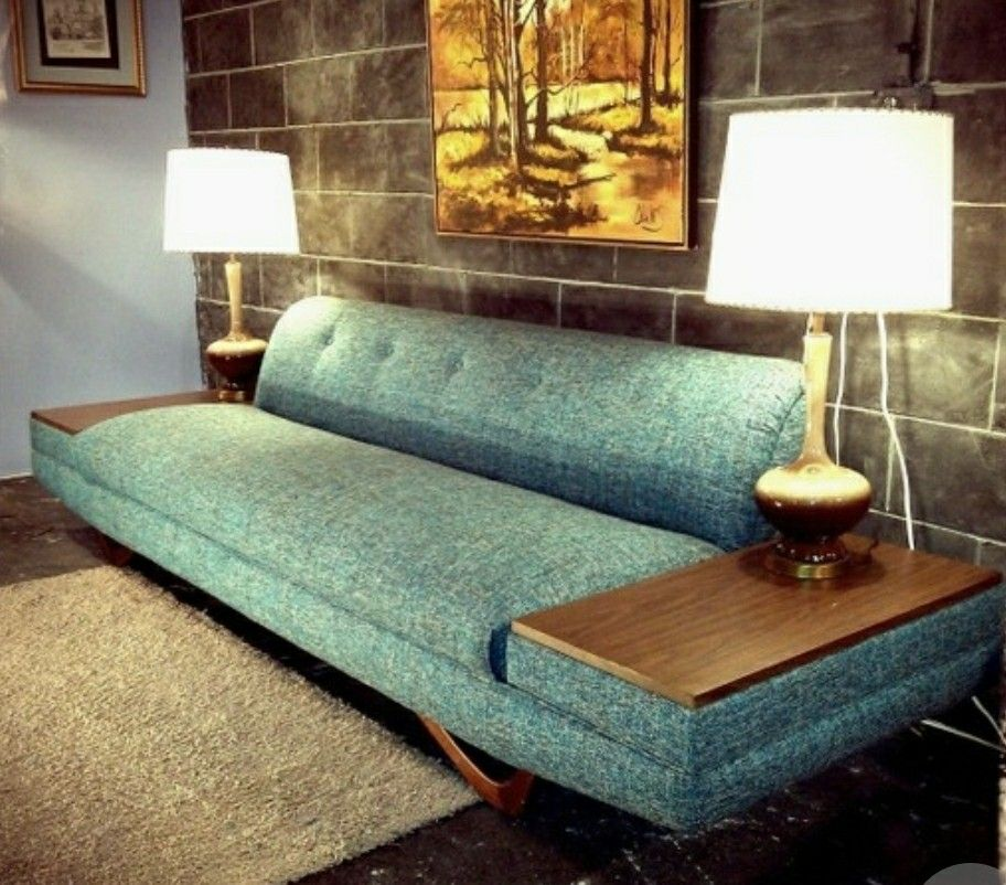 Mid century couch with built-in end tables. | Mid century ...