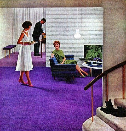Purple carpet in modern lounge.
