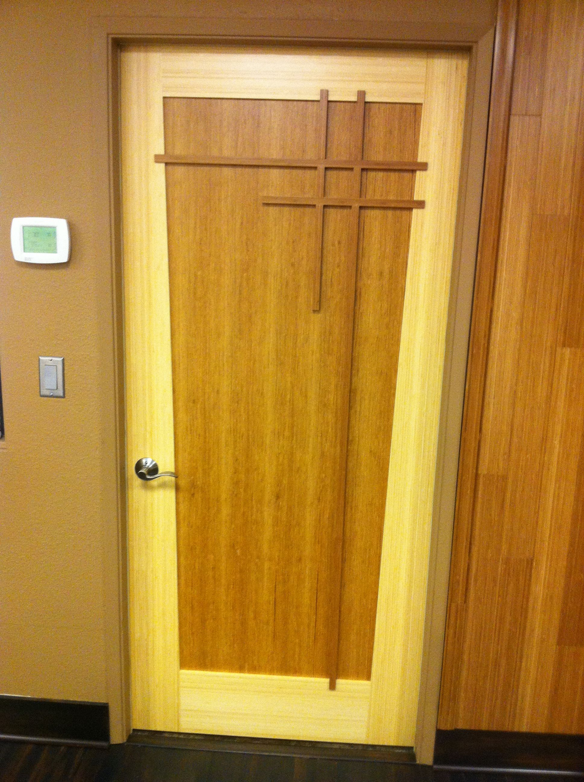 One Of Four Custom Green Leaf Bamboo Doors Installed In The