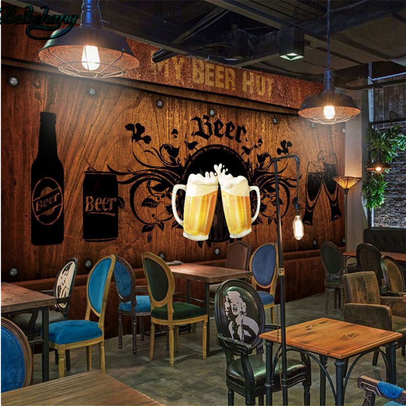Beibehang Customized Wallpaper Mural Wooden Beer Series Decorative Painting Bar Restaurant Background Wall