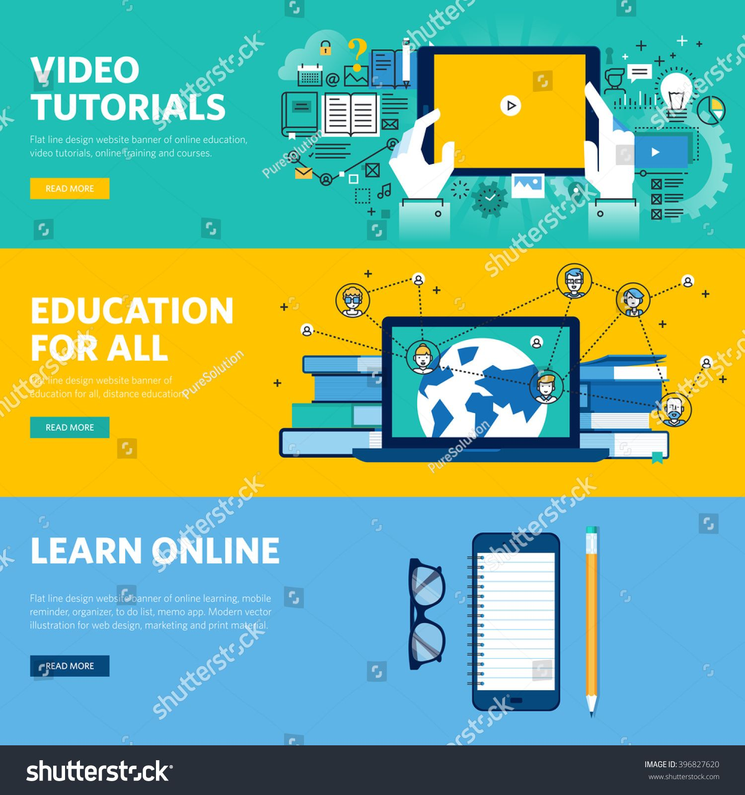 Set Of Flat Line Design Web Banners For Distance Education Online Learning Video Tutorials Vector Illustr Learning Website Design Online Learning Web Banner
