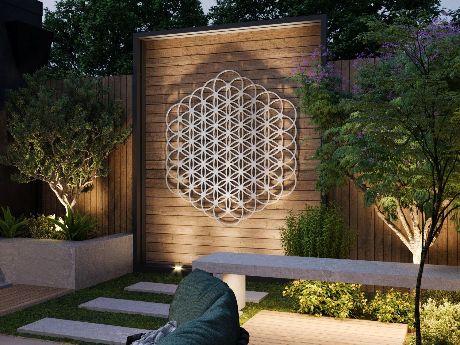 Flower Of Life Outdoor Metal Wall Art Sculpture Sacred Etsy In 2020 Outdoor Wall Art Large Metal Wall Art Large Outdoor Wall Art