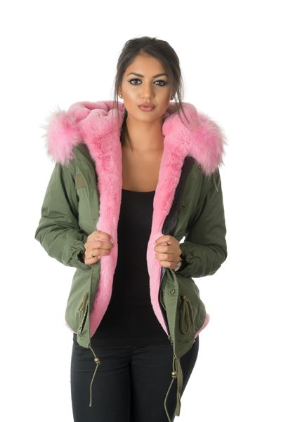 Hunter Green Parka w. Hot Pink Faux Fur Trim | Sheldon C Edward ...