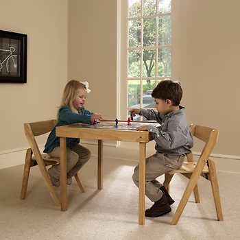 Stakmore Juvenile 3 Piece Table Chair Set Indoor Furniture Kids Table Chair Set Folding Furniture