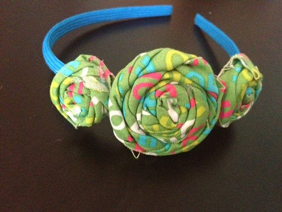 Green and Turquoise Headband by SassyFrassShops on Etsy, $5.00