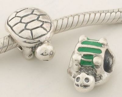CLDY043 925 Sterling Silver Green Enamel Tortoise Pandora Charms beads on sale,for Cheap,wholesale. See more: www.clbracelet.com