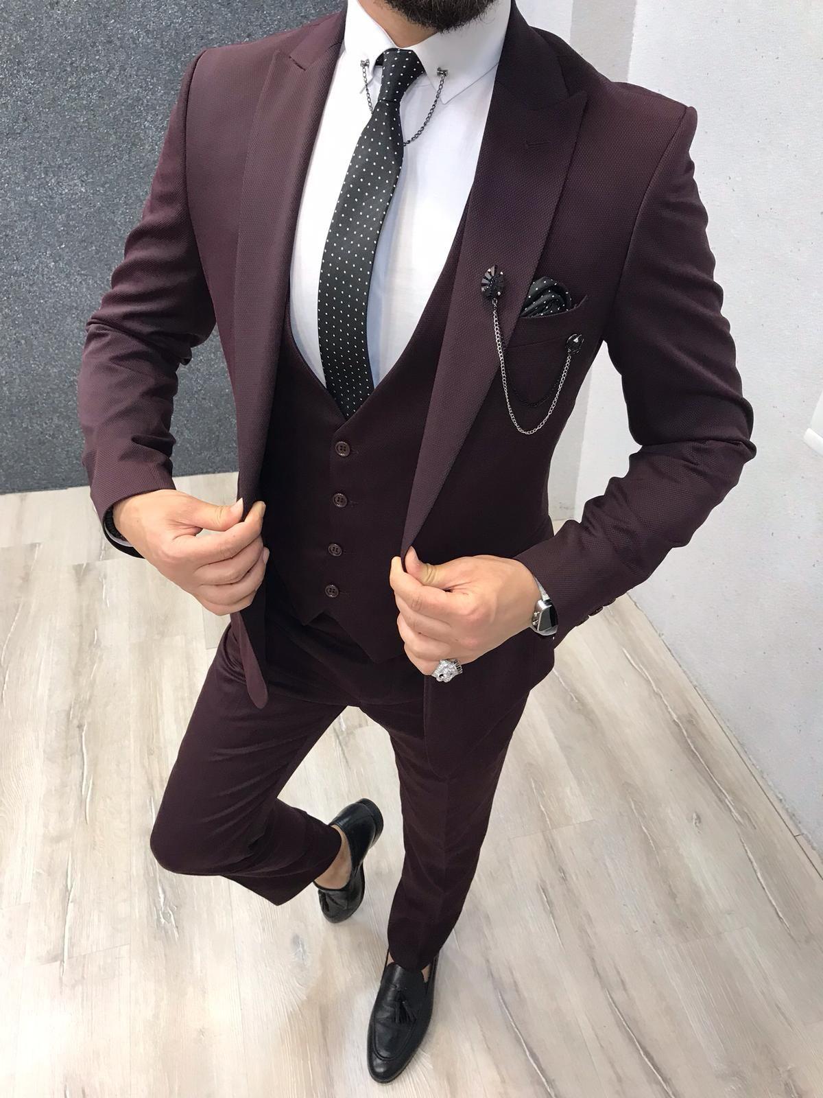 Dickinson claret red slim fit suit dress suits for men
