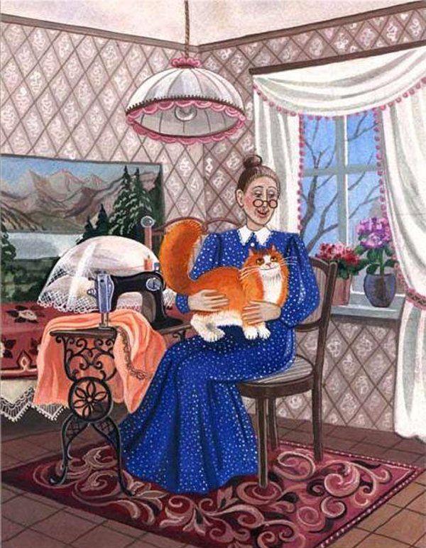 Смешные котики, снова бабушка открытки