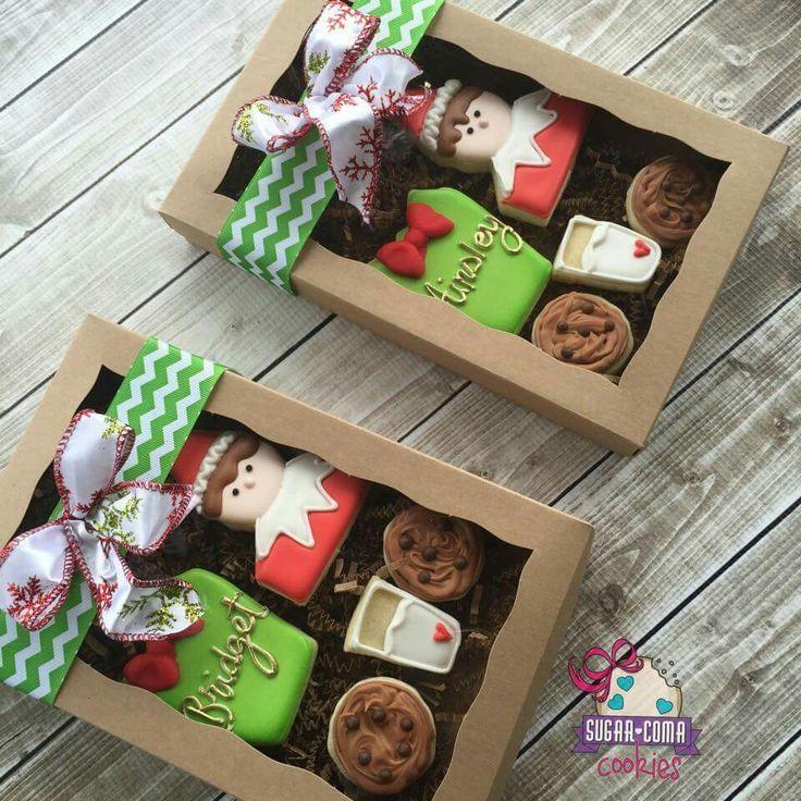 Sugar Coma Cookies Christmas. Elf on the shelf. Gift box