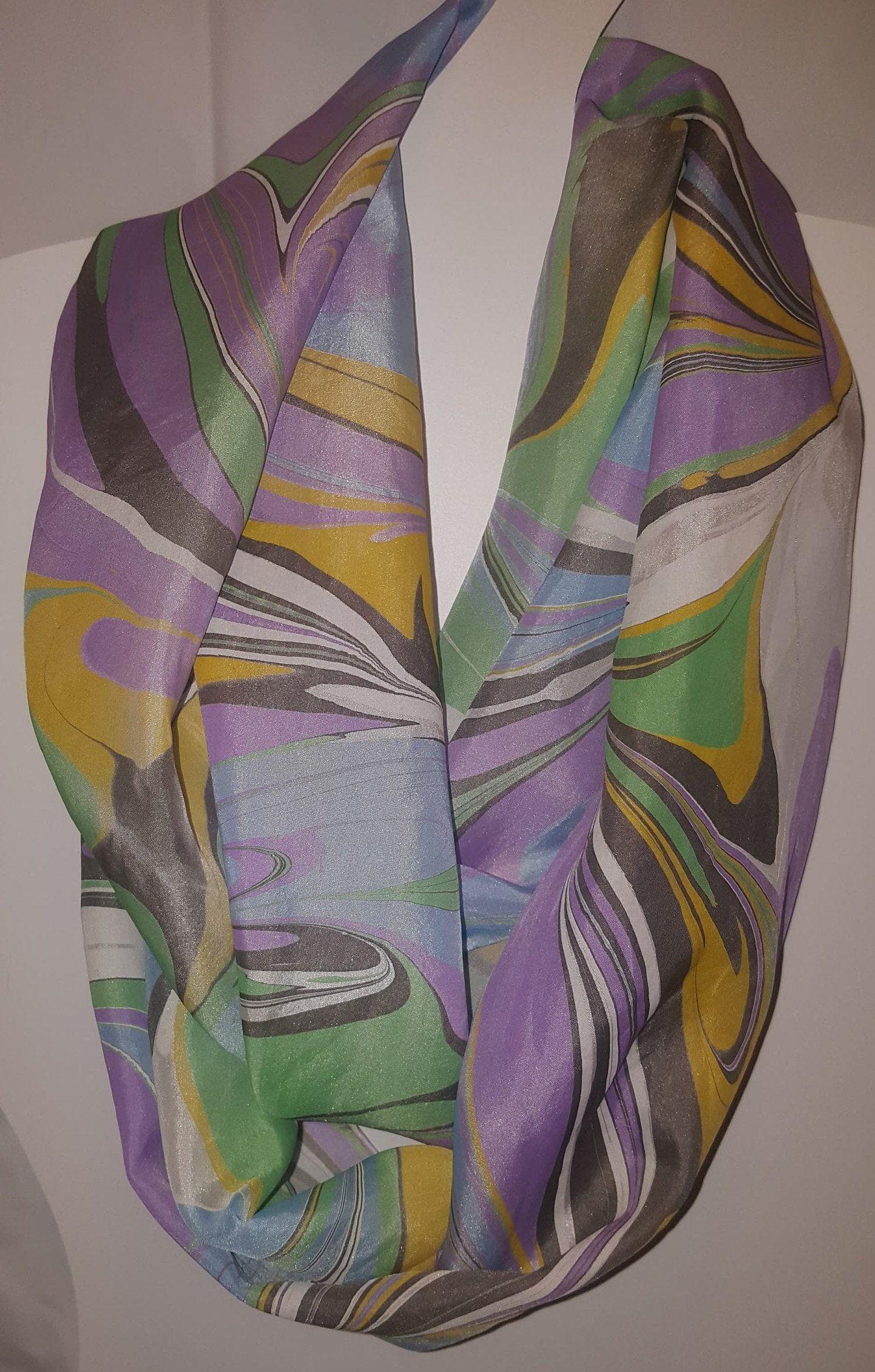100 Silk Scarf Water Marbled Hand Painted Ebru With Etsy In 2020 Silk Set Habotai Silk Silk Scraf