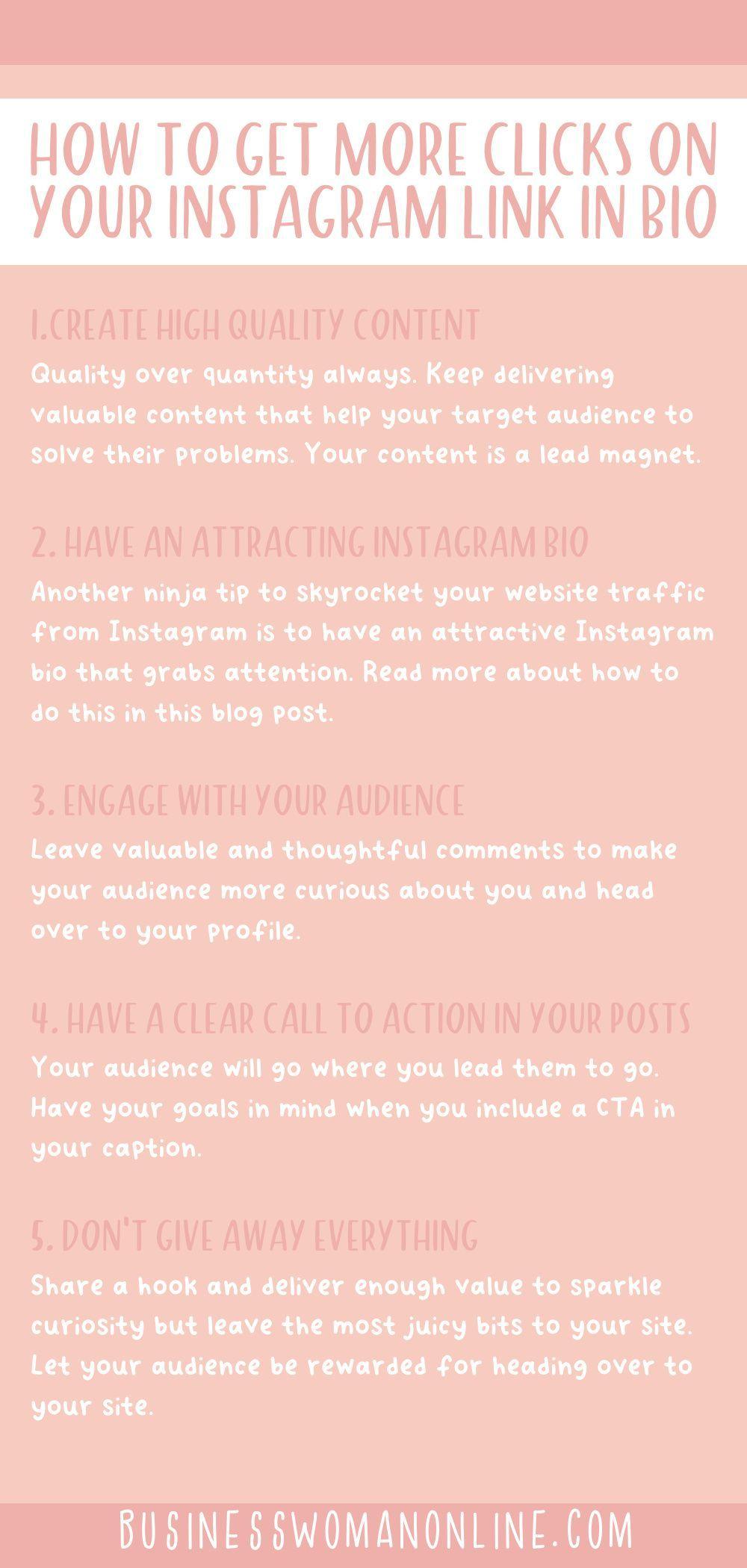 Get More Clicks On Your Instagram Link In Bio Business Woman Online In 2020 Instagram Tips Online Blog Instagram
