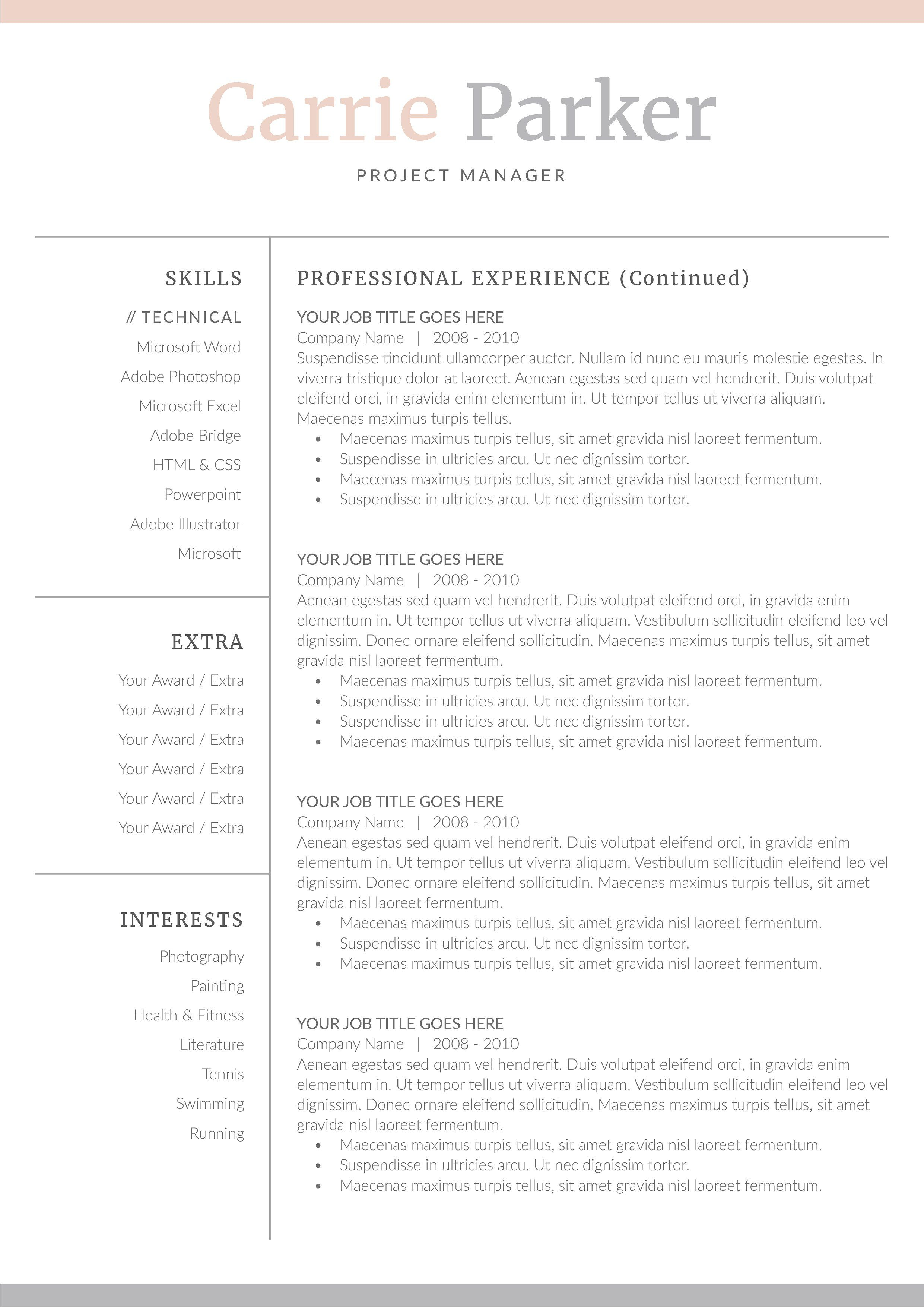 word resume cover letter template by demedev on creativemarket ad - Microsoft Word Resume Cover Letter Template