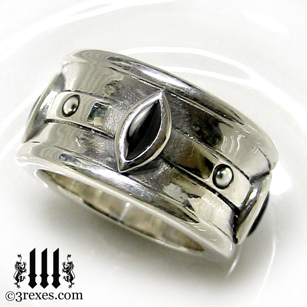 gothic wedding ring mens medieval engagement band black onyx stone