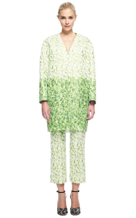 Jacquard Long Sleeve Coat by Giambattista Valli - Moda Operandi