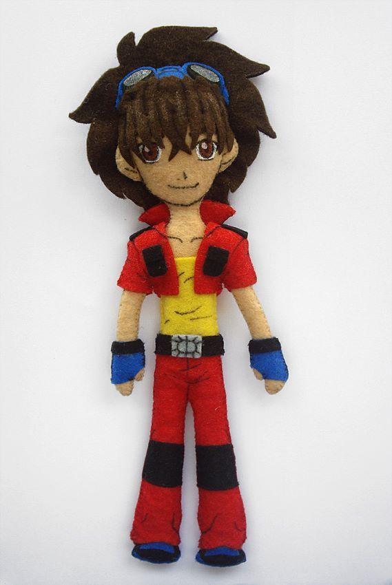 Muñeco fieltro.  Personaje dibujos animados Bakugam.  Dan Kuso
