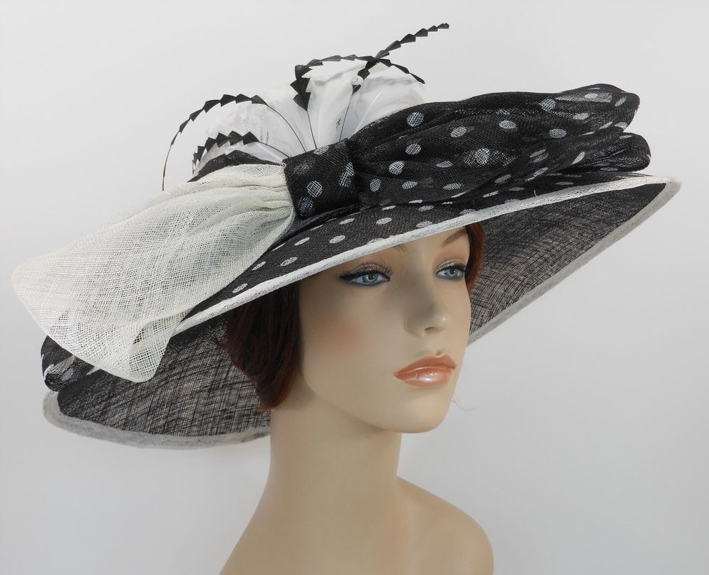beb217143c0 New Church Kentucky Derby Sinamay Wide Brim Dress Hat 3097 Off White(Top)   Black  CC  KentuckyDerbyChurchWeddingDressHatTeaParty