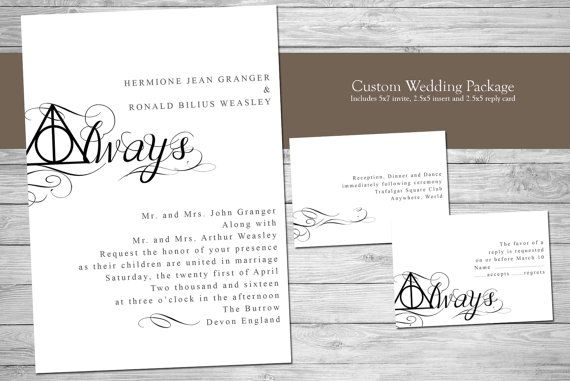 Harry Potter Wedding Invitation Always Digital Files by TLCArts