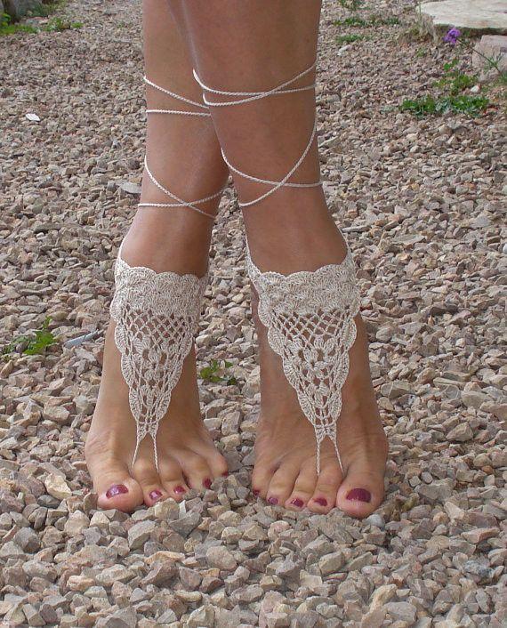 451a4bdadf83b Boho Beach Wedding Crochet Barefoot Sandals - Set of Two - Set of ...