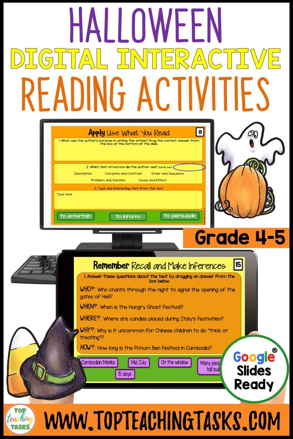 Halloween Digital Reading Comprehension Activity For Google Slides Fall Reading Comprehension Activities Reading Comprehension Resources Reading Comprehension [ 1497 x 1000 Pixel ]