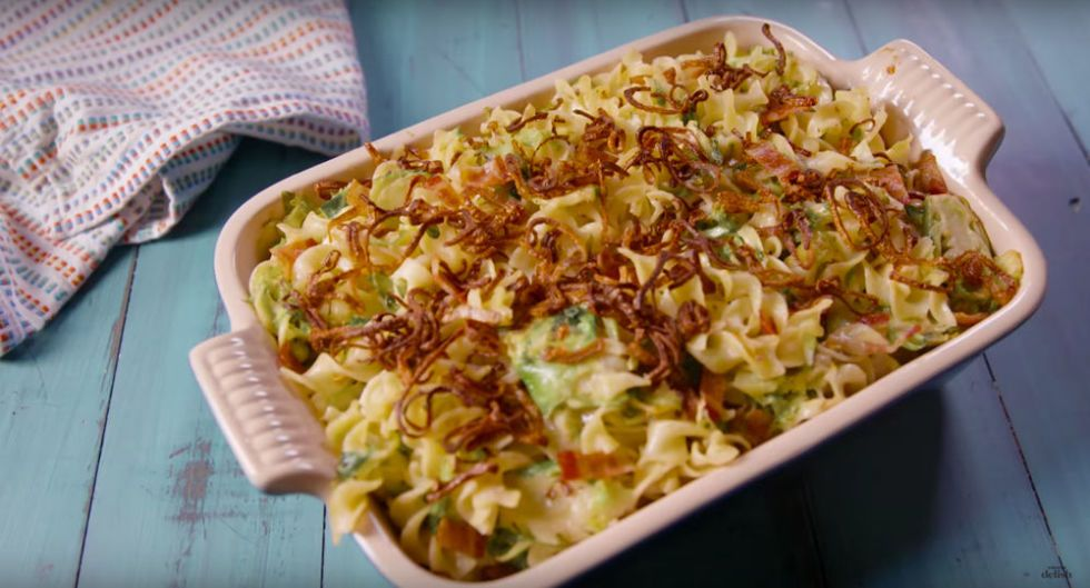 Bacon Brussels Sprouts Noodle Bake Is The Best Brussel Side Dish For The Holidays