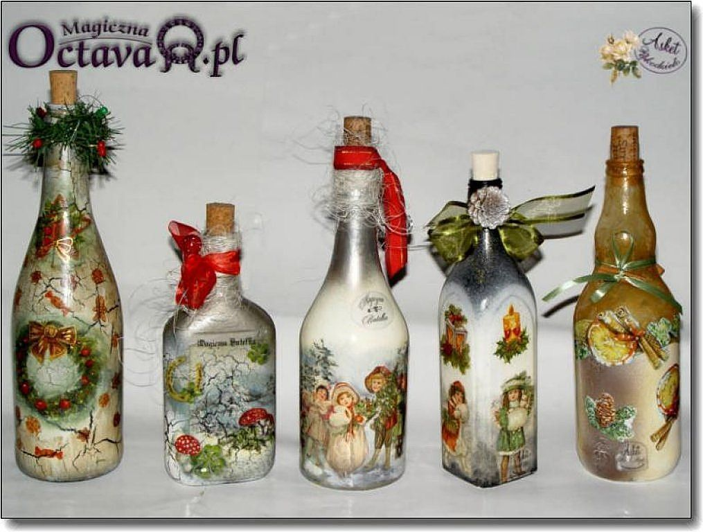 Nuestras botellas decoradas botellas decoradas for Botellas de vidrio decoradas para navidad