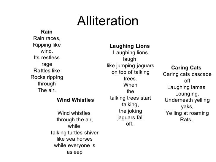 Alliteration Rain Rain Races Ripping Like Laughing Lions Wind