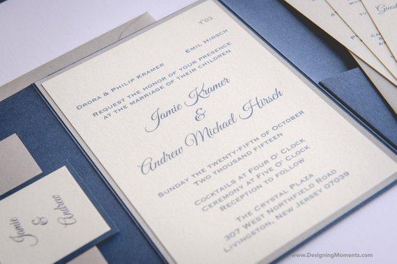 Luxury Pocketfold Wedding Invitation Suite - Classic Wedding