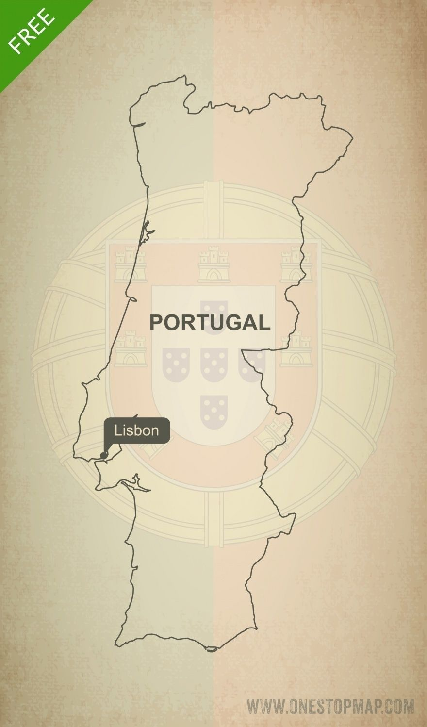 Free vector map of Portugal outline Free