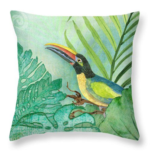 Rainforest Tropical Tropical Toucan With Philodendron Elephant Ear And Palm Leaves CLH18100718P Handmade Pillowcase #elephantearsandtropicals