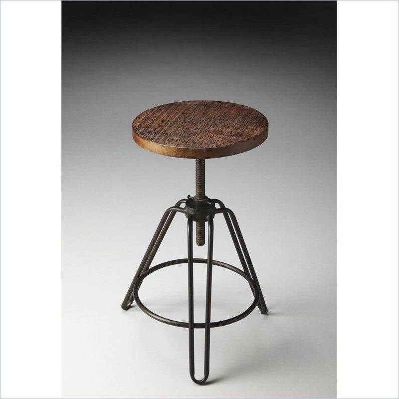 Industrial Chic Bar Stool with Distressed Wood Seat