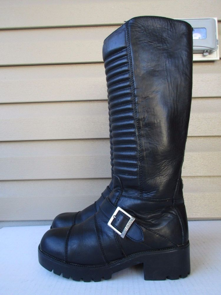 66eef31df0aa Harley Davidson Tall women boots size 8.5 M Black Leather Motorcycle   HarleyDavidson  Motorcycle  Casual