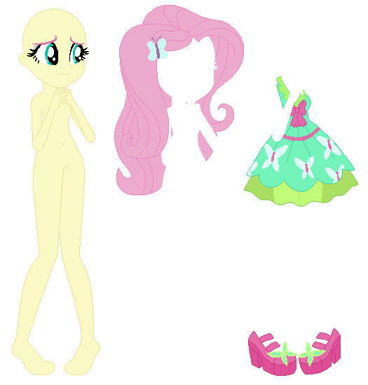 Equestria Girls Party Dress Fluttershy Base By Selenaede Paper