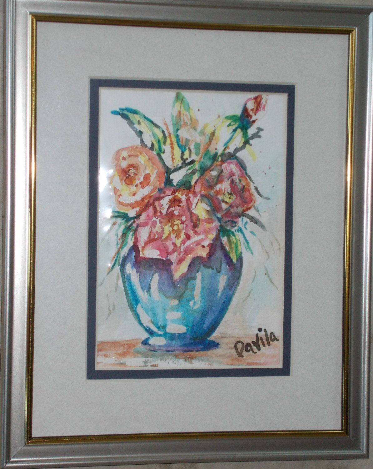 Original Sugar Coated Floral Watercolor Painting Hand Painted By