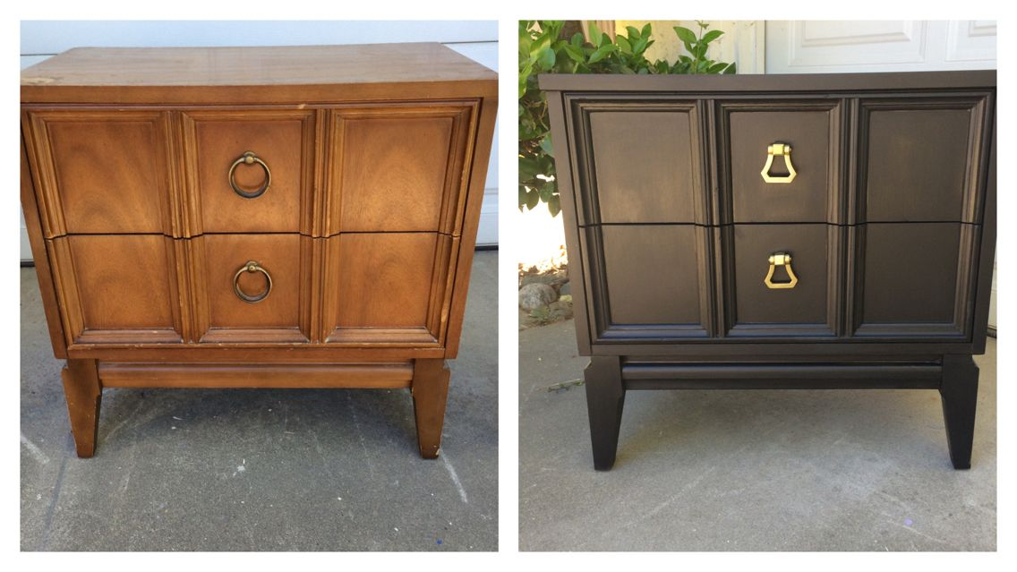 Upcycled modern nightstand, painted with black chalk paint