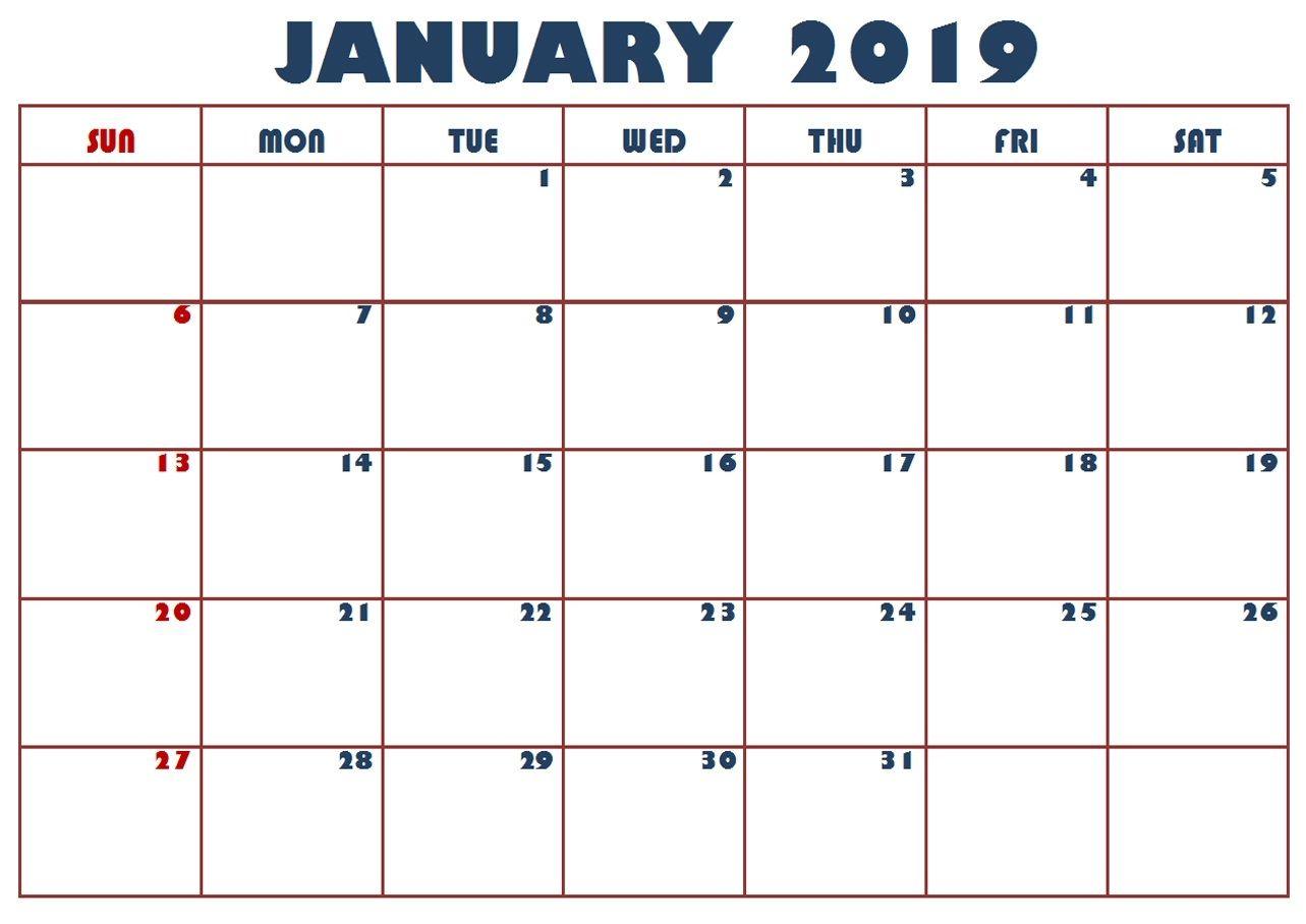 January 2019 Calendar Excel With Images Excel Calendar