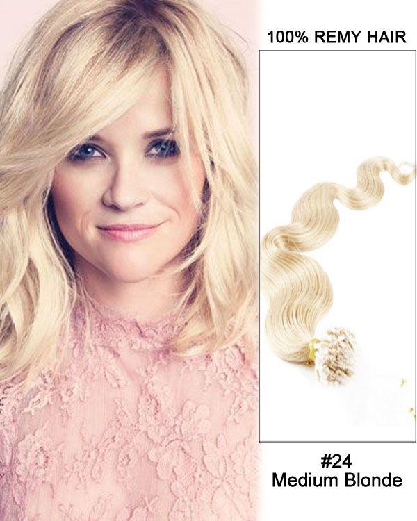 16 24 Medium Blonde Body Wave Micro Loop 100 Remy Hair Human Hair