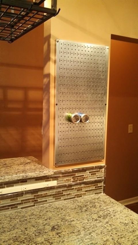 Stainless Steel Pegboard (Home Depot) Installed For Use With Magnetic Spice  Tins