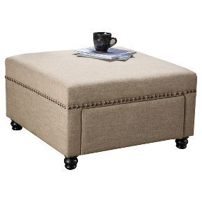 Darby Square Fabric Storage Ottoman   Christopher Knight Home