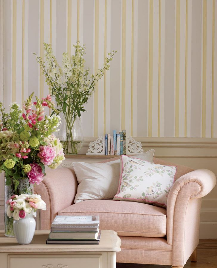 Laura Ashley Sofa Pink Eaton Stripe Camomile Wallpaper | English Country Dreams