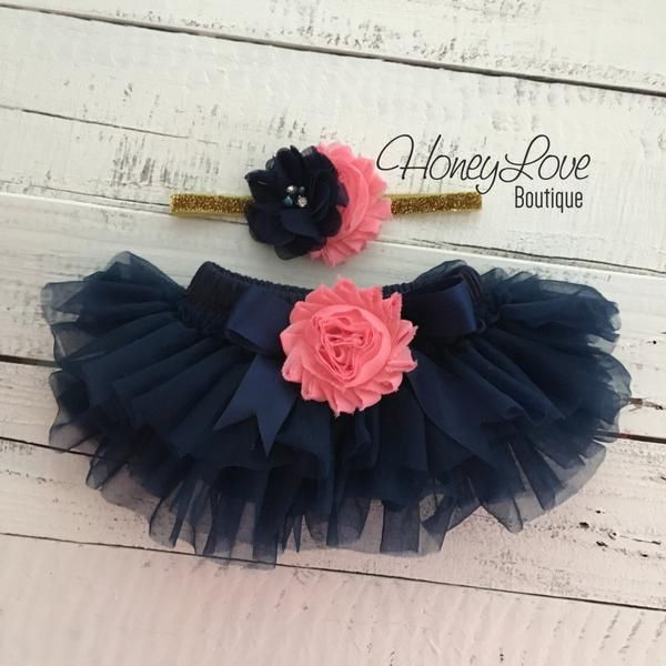 e8a6284ba Navy Blue tutu skirt bloomers - embellished Coral shabby flower ...