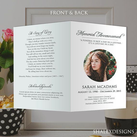 funeral program card template for memorial order of service psd