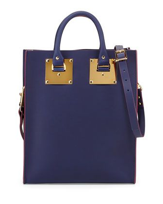 Mini Buckled Leather Tote Bag, French Navy by Sophie Hulme at Neiman Marcus.
